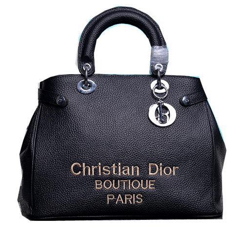 Dior Shish Tote Bag Grainy Calfskin Leather D9691 Black
