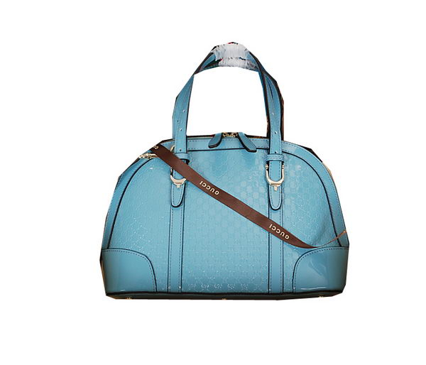 Gucci Nice Small Top Handle Bag Patent Leather 309617 Blue