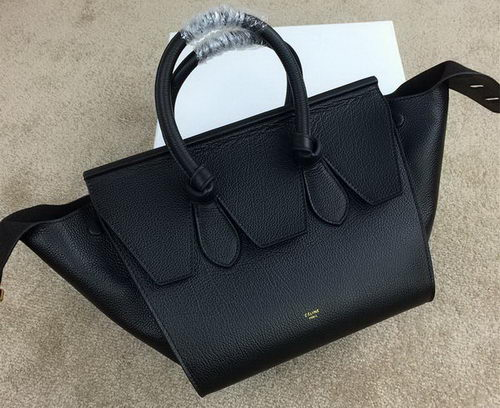 Celine Tie Nano Top Handle Bag Grainy Leather 98313 Black