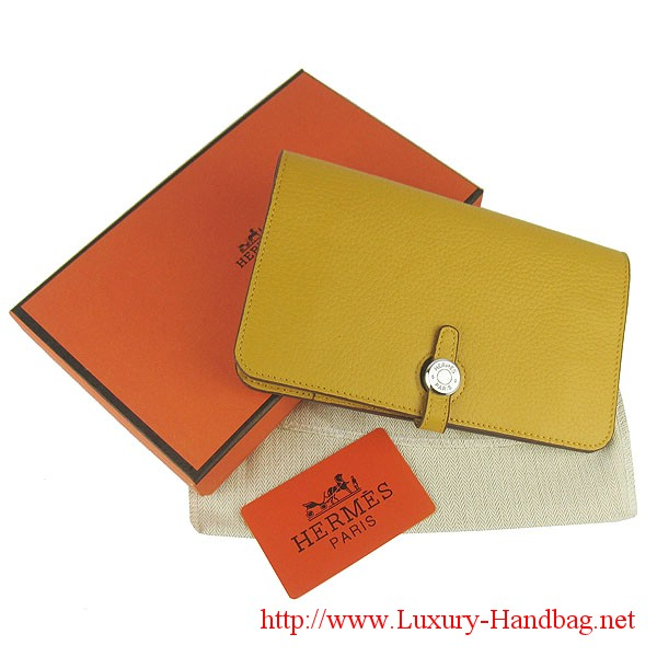 Hermes Dogon Wallet Travel Case H001 Yellow