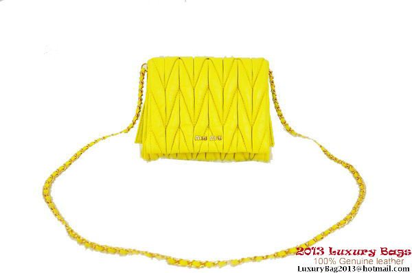 miu miu Matelasse Leather mini Shoulder Bag Lemon
