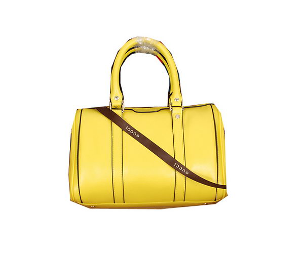 Gucci Medium Boston Bag Calfskin Leather 247204 Lemon