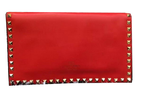 Valentino Garavani Rockstud Leather Clutch VO808 Red