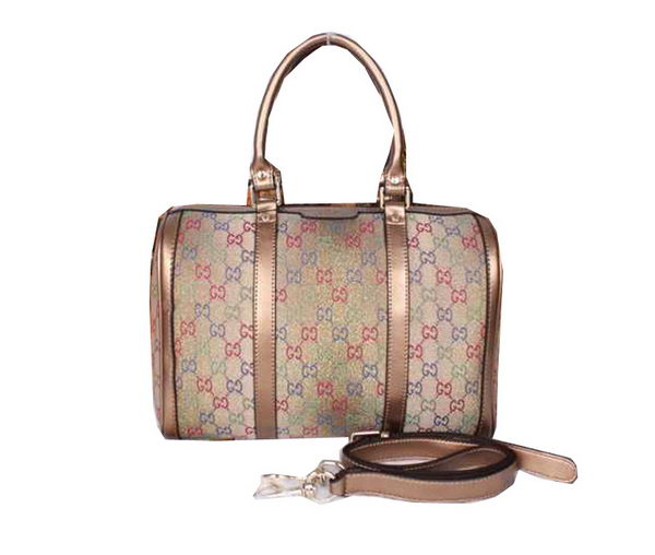Gucci Vintage Web Multicolour Canvas Boston Bag 247205 Gold