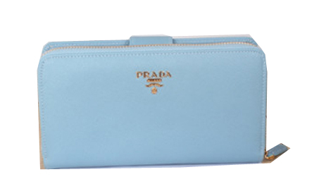 Prada Saffiano Leather Zippy Wallet 1M1348 SkyBlue