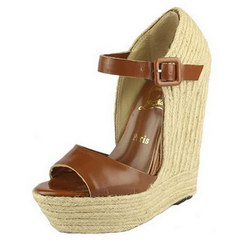 Christian Louboutin Praia 140mm Wedge Espadrilles Brown