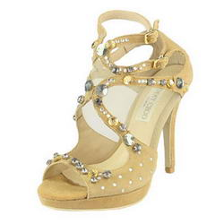 Jimmy Choo Multi-color Crystal Sandal Suede Khaki