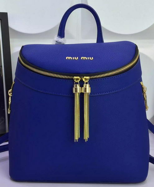 miu miu Backpack Calfskin Leather M0823 Blue