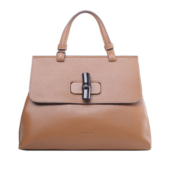 Gucci Bamboo Daily Leather Top Handle Bag 370830 Apricot