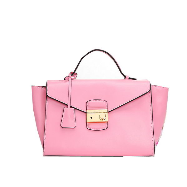 Prada Grained Calf Leather Flap Bag BR5034 Pink