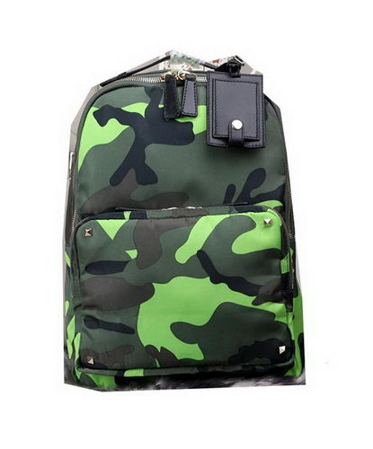 Valentino Mimetic-Effect Fabric Backpack VL6689 Green