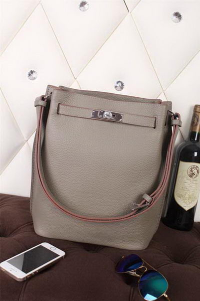 Hermes So Kelly Hobo Bag Original Leather Grey