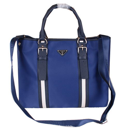 Prada Canvas & Leather Briefcase VA0852 Blue