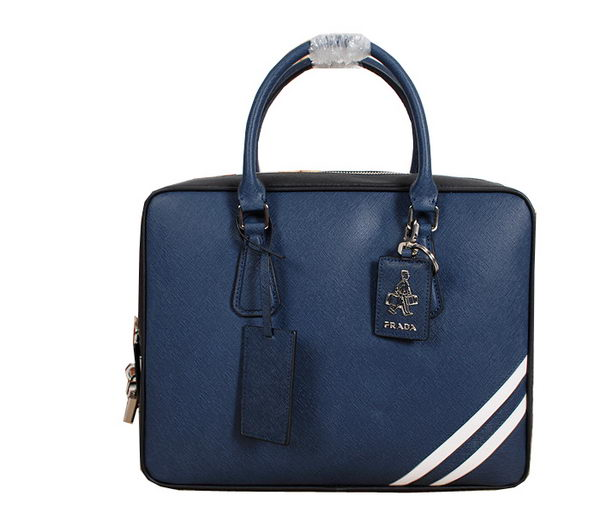 Prada Original Leather Briefcase 305B Blue
