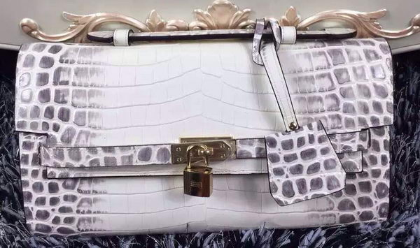 Hermes Kelly Clutch Bag Croco Leather K2651 White&Grey