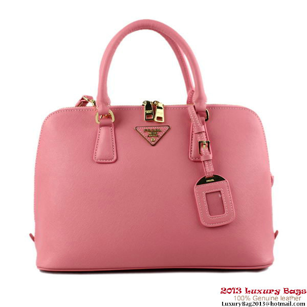 PRADA Saffiano Leather 33CM Two Handle Bag BL0812 Pink