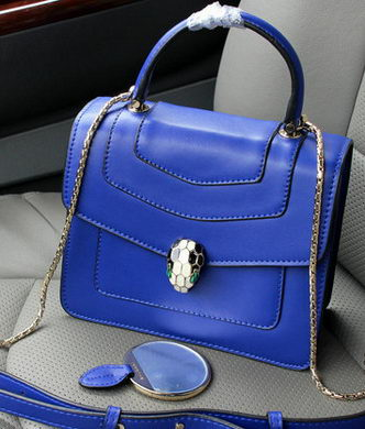 2015 BVLGARI Serpenti Forever Bag Original Leather BG9258 Blue