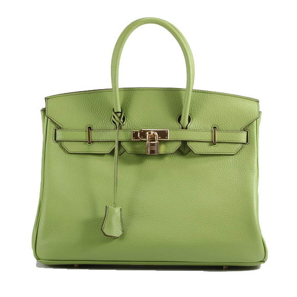 Hermes Birkin 35CM Togo Leather Handbag 6089 Green Golden