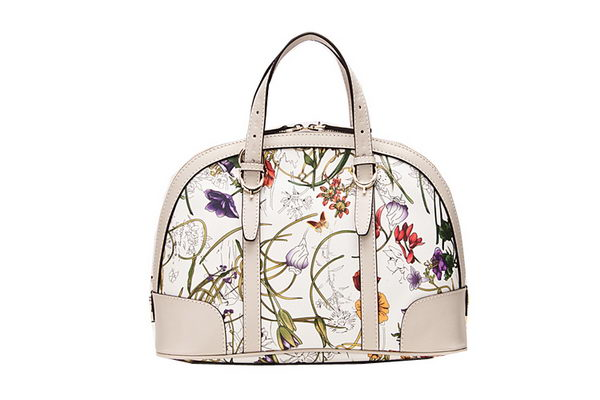 Gucci 309617 White Vintage Flora Leather Top Handle Bag