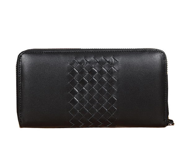 Bottega Veneta Intrecciato Nappa Zip Around Wallet BV189 Black