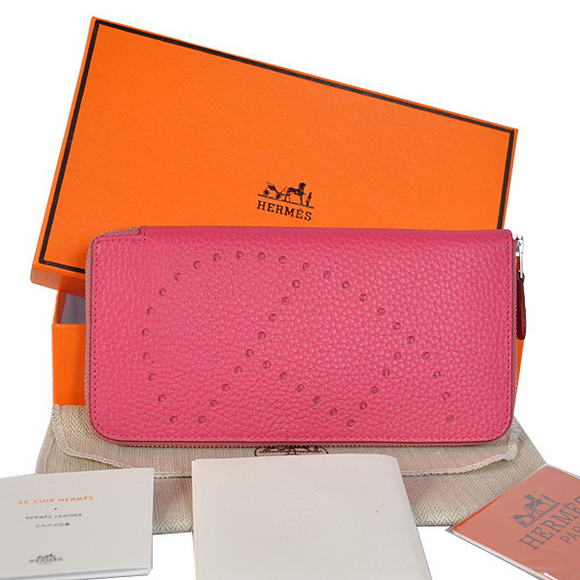 Hermes Evelyn Long Wallet Zip Purse A808 Peach