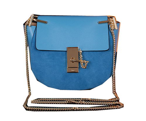 CHLOE Drew Small Suede Leather Shoulder Bag CLE7671 Blue