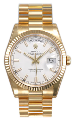 Rolex Day-Date Series Mens Automatic 18kt Yellow Gold Wristwatch 118238-WSP