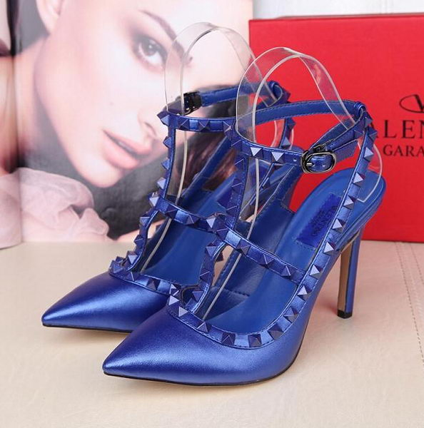 Valentino Smooth Leather Rivet 100mm Sandal VT258YZM Royal