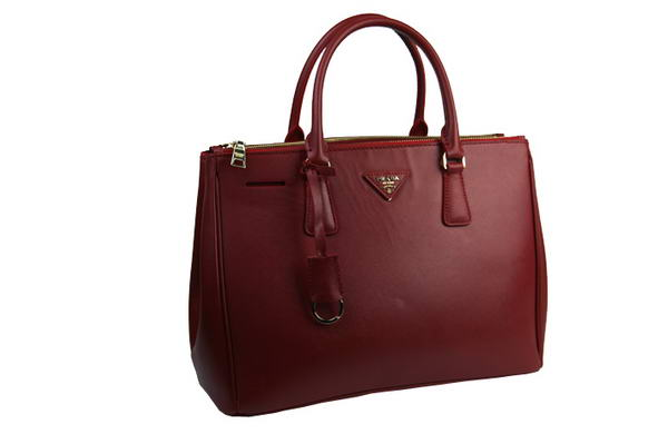Prada Classic Saffiano Calf Leather Tote Bag BN1786 Bordeaux