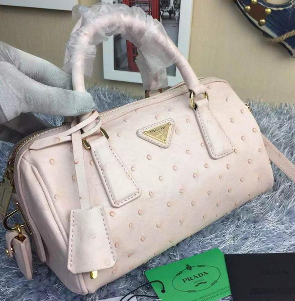 Prada Ostrich Leather Small Boston Bag BN2277 White