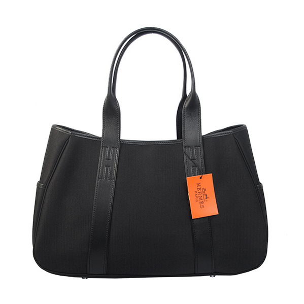 Hermes Tote Bag Canvas & Leather H1035 Black