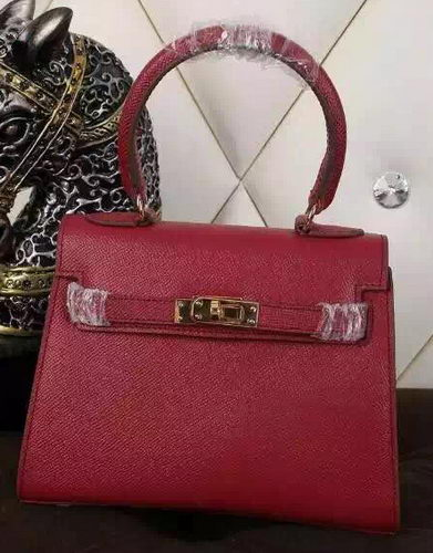 Hermes Kelly 20cm Tote Bag Litchi Leather K20 Burgundy