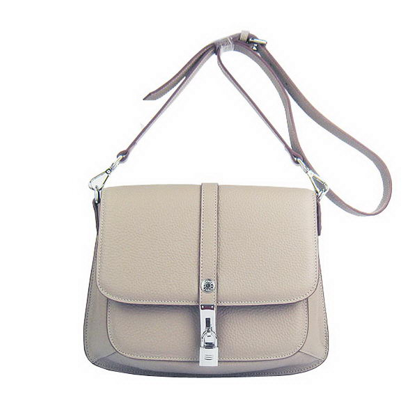 Hermes Lock Shoulder Bag Calfskin Grey