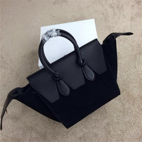 Celine Tie Nano Top Handle Bags Suede Leather C98313 Black