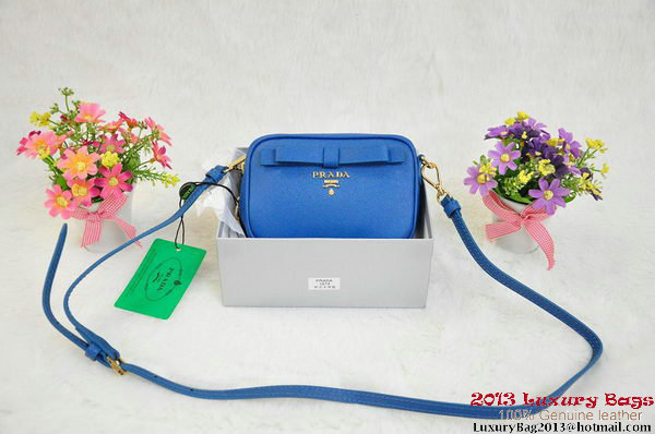 Prada Saffiano Calf Leather Pouch BN1674 Blue