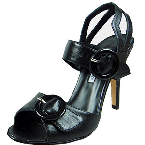 manolo blahnik double buckled sheepskin clingback sandals black