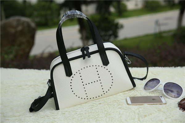 Hermes Boston Bag Grainy Leather H9898 White