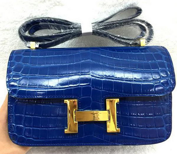 Hermes Constance Bag Croco Leather H3327 Royal
