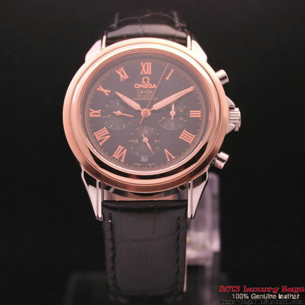 OMEGA DE VILLE CO-AXIAL Chronometer Red Gold on Black Leather Strap OM77506