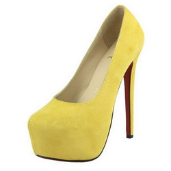 Christian Louboutin Daff odile Platform Pumps Suede Yellow