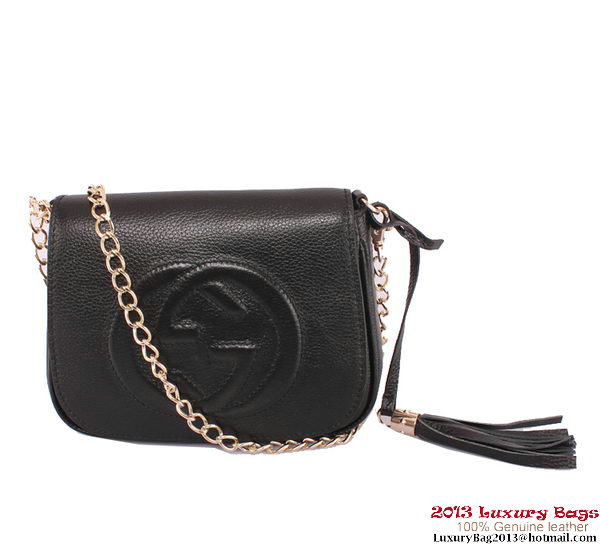 Gucci Soho Leather Chain Shoulder Bag 323190 Black