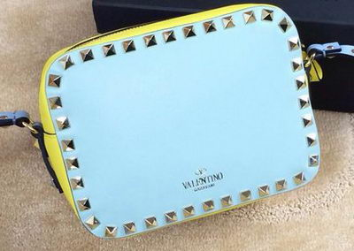 Valentino Garavani Cross Body Bag Calfskin VO1927 SkyBlue&Yellow&Pink