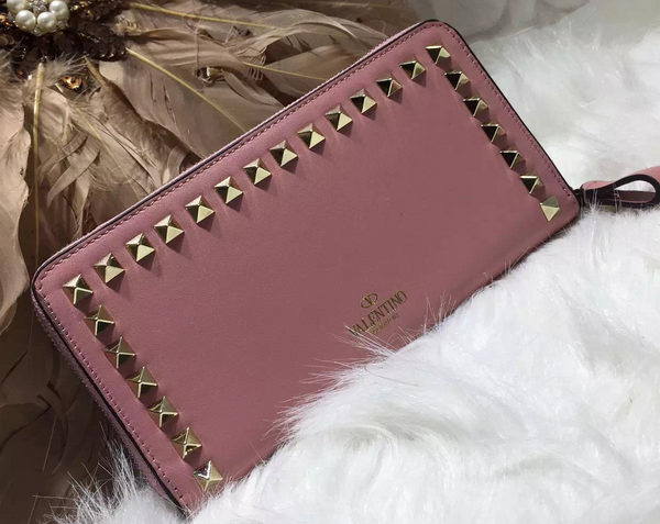 Valentino ROCKSTUD Continental Zipped Wallet VG027 Pink