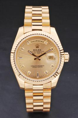 Rolex Day-Date 33 mm Gold Cutwork Watch-RD2946
