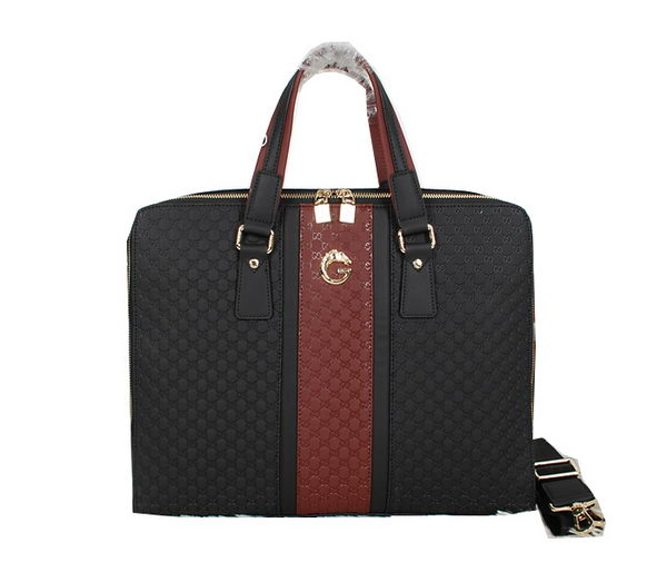 Gucci Guccissima Leather Business Briefcase G8528 Black&Brown