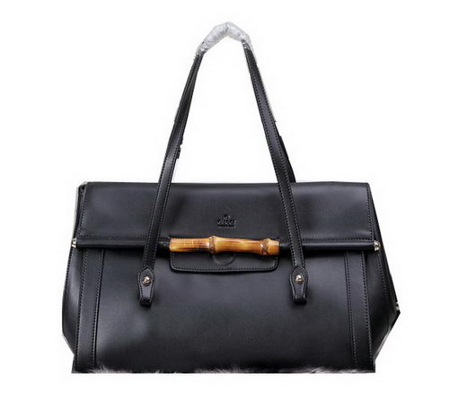 Gucci Bamboo Leather Top Handle Bag 338987 Black