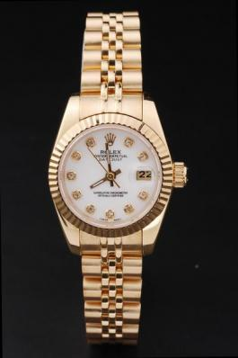 Rolex Datejust Mechanism Golden White Surface Women Watch-RD2462