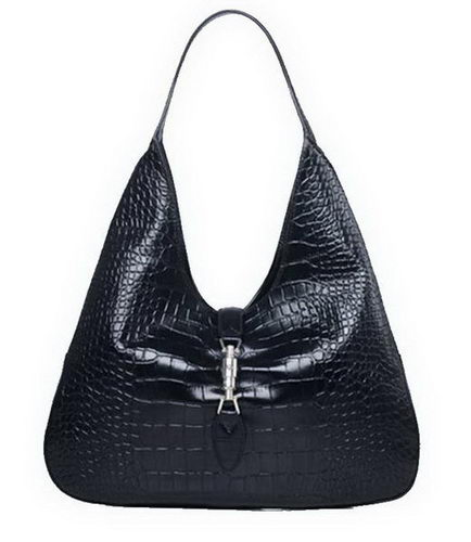 Gucci Jackie Croco Leather Hobo Bags 362968 Black