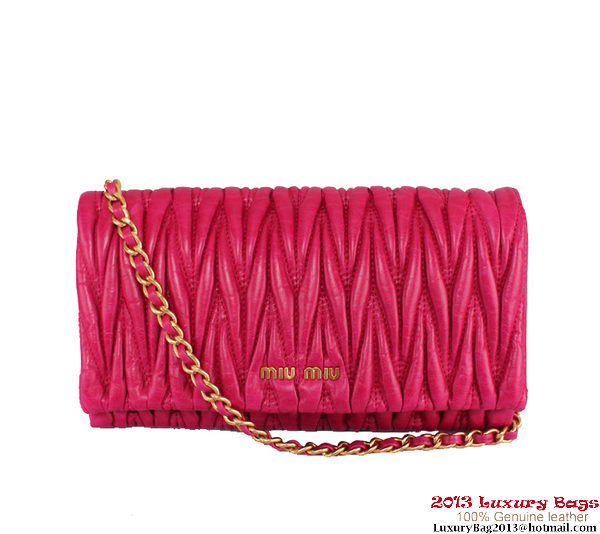 miu miu Matelasse Leather Clutches 81204 Rose