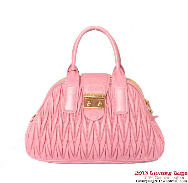 miu miu Matelasse Shiny Leather Top Handle Bag RL0072 Pink